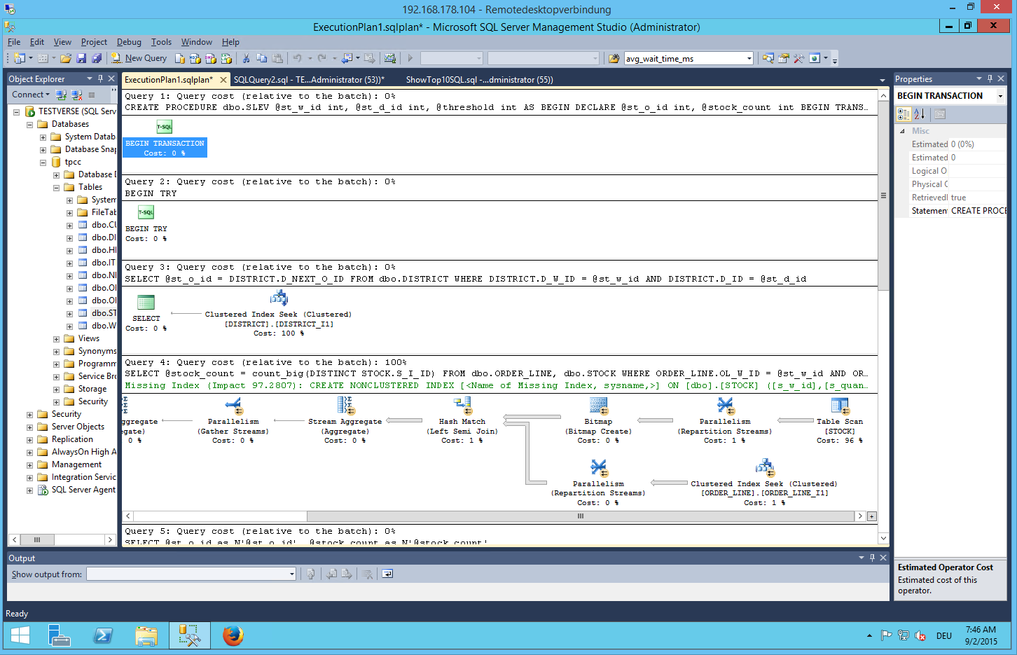 SQL Server2 014 Execution plan before